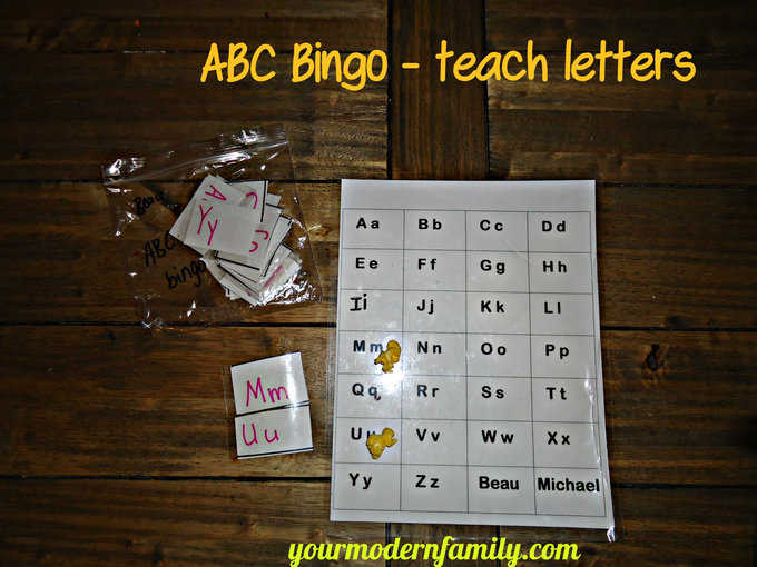 An ABC Bingo paper with cut out letters.