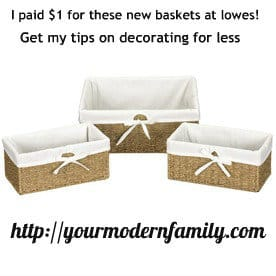 Three baskets with cloth liners and text above them.