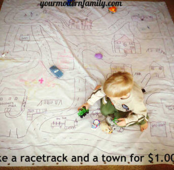 make a racetrack out of a shower curtain for ONE DOLLAR