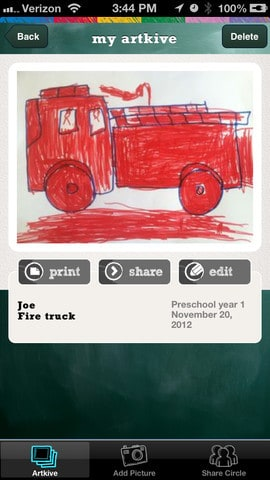A close up of a screen with a red fire truck drawn on it.