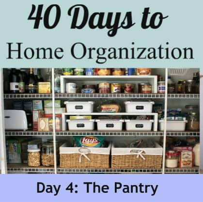 tips to organize your pantry (use tension rods, hanging baskets, line the shelves, etc…)