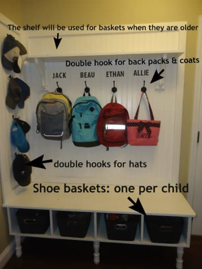 make a mudroom bench backpacks