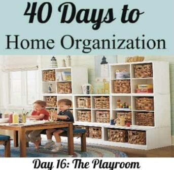 An organized playroom with shelves of items in baskets with kids sitting at a table playing.