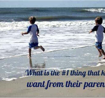 Two kids running on a beach with text below them.