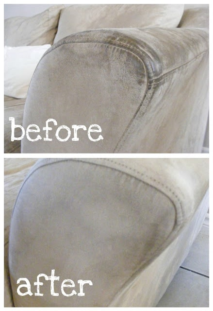 A before and after picture of a dirty and clean couch.