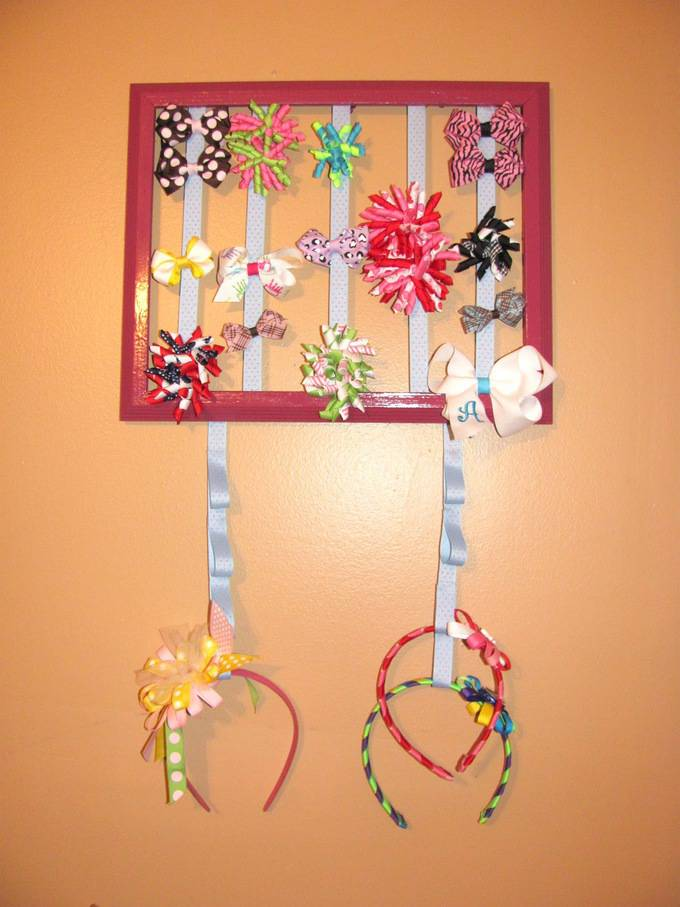 How to organize hair bows - With This One Just Take Your Ribbon And Make Little Loops In