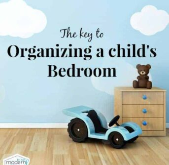 A child's bedroom with a night stand and a toy car sitting on the floor with text above them.