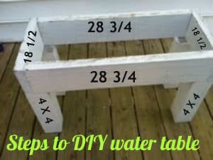 A close up of wooden water table with measurements on it and text below it.