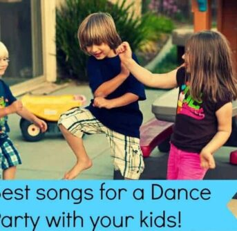 Kids dancing on the back porch together with text below them.