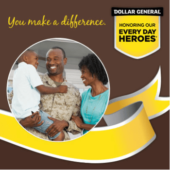 A dollar General ad honoring veterans.