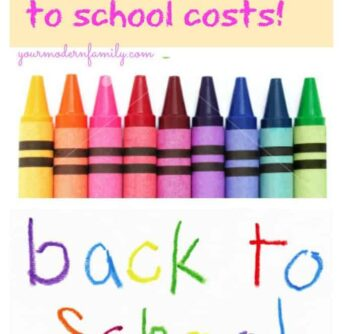 A back to school social media ad with crayons and text above them.