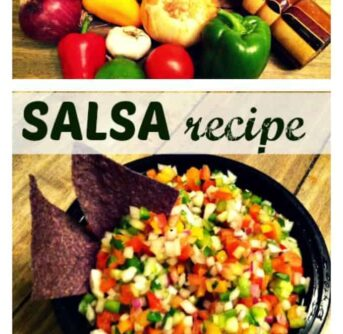 Salsa ingredients and a bowl of salsa with text between them.