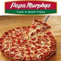 A Papa Murphy's pizza sitting on top of a wooden table.