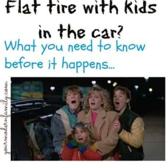 Flat tire with kids