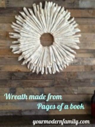 A completed paper wreath sitting on a wooden table.