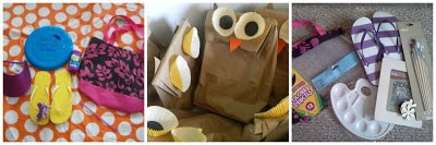 A variety of home made treat bags and prizes for a kids party.