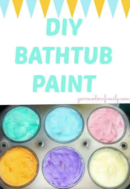 A variety of colors of bath tub paint in a cup cake pan with text above it.