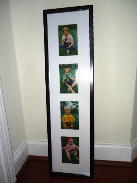 A large rectangular frame with four photos of children in each square.
