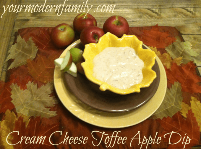 toffee apple dip made with cream cheese. This is BY FAR the best recipe that I've ever made!   yourmodernfamily.com