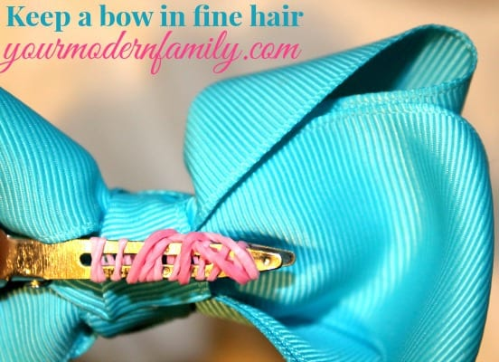 Keep hair bows from slipping