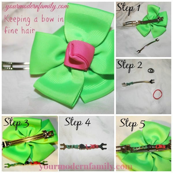 how to keep a bow from slipping out of  hair with this tip!