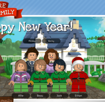 A Lego family in front of a house with text above them.