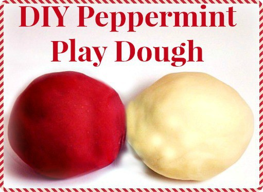 Red and white Peppermint Play Dough balls.