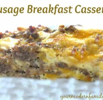 A close up of  Sausage Breakfast Casserole with text above it.
