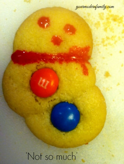 snowman cookies - not so much (my holiday MOMent - snowman cookies gone bad)
