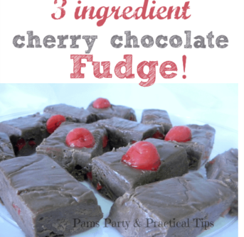 Picture of cherry chocolate fudge with text above them.