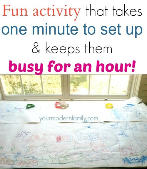 fun activity that takes a minute to set up & keeps kids busy for an hour
