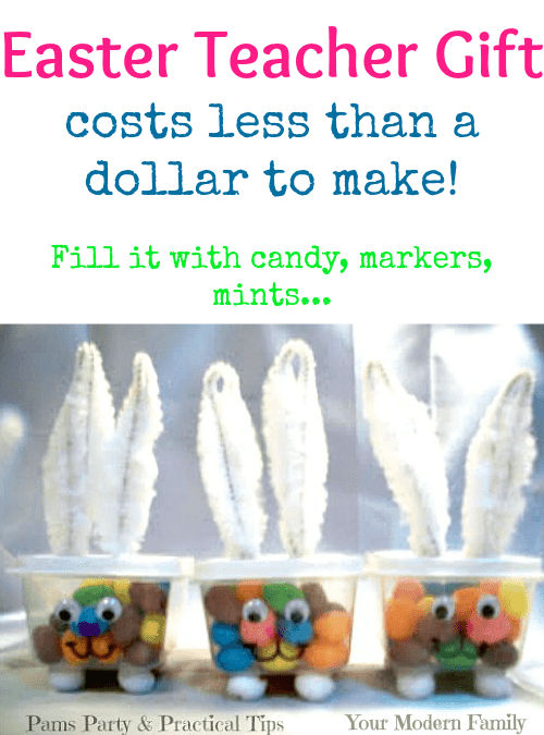 Easter Teacher Gift idea - costs less than a dollar to make (I filled mine with stickers!)