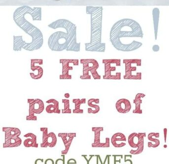 5 free pairs of baby legs at www.babyleggings.com with the promo code YMF5