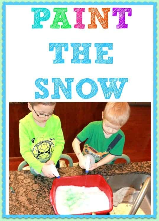 Have fun PAINTING the snow!- INSIDE!    Our kids LOVED this!