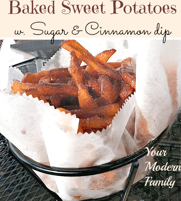 Sweet potato fries with cinnamon & sugar dipping sauce
