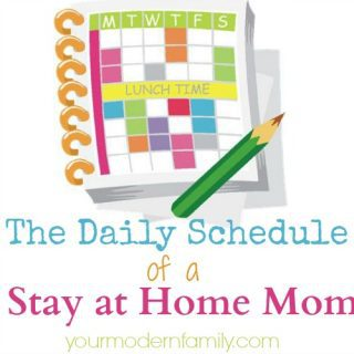 The daily schedule of a stay at home mom