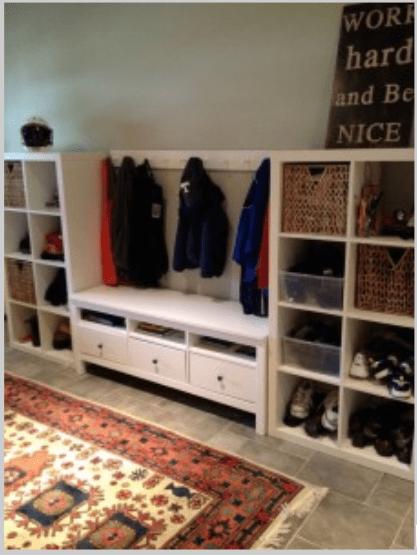 mud room using expedite shelves