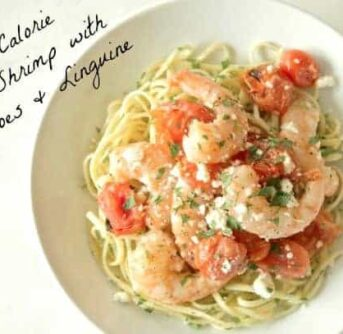 low calorie Garlic Shrimp with tomatoes & Linguine