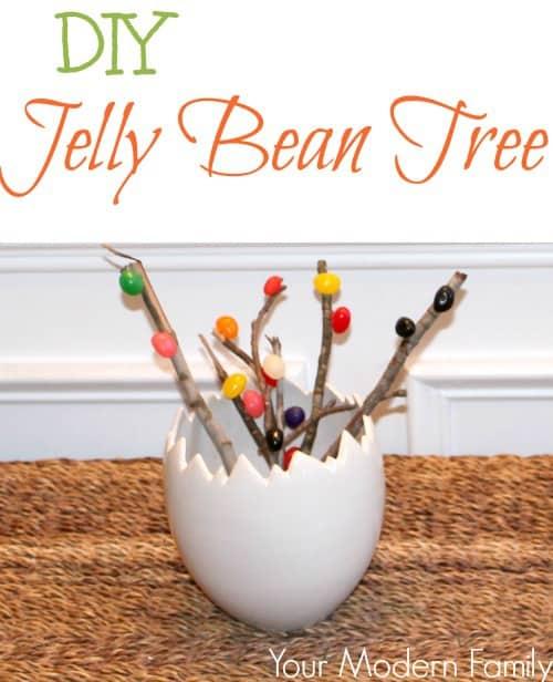 DIY jelly bean tree in easter egg vase