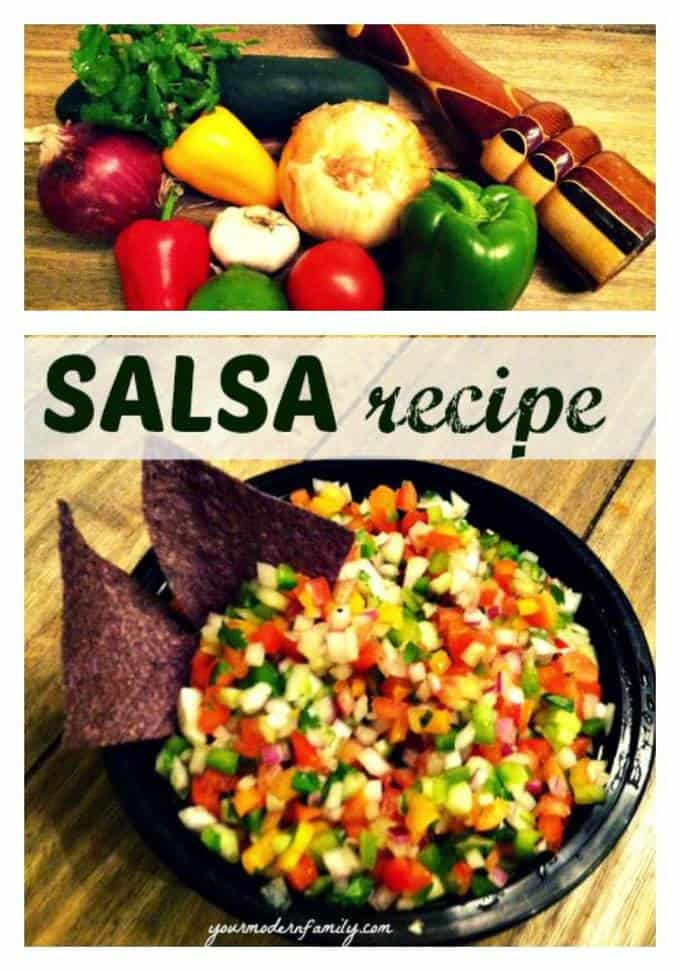 A box filled with different types of food to make salsa.