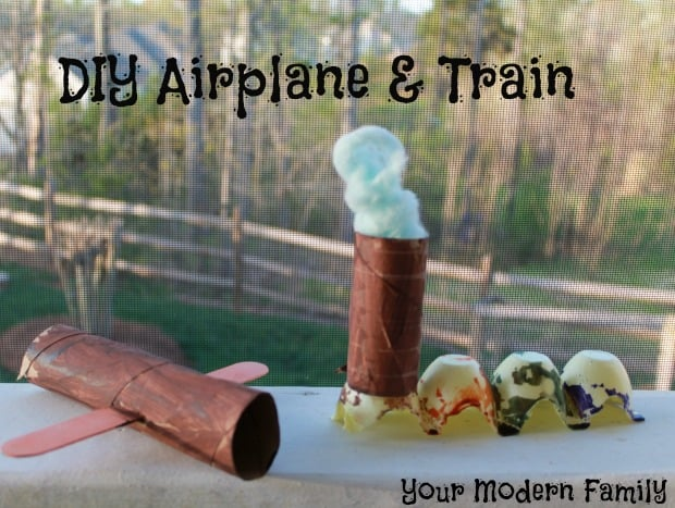 A home made plane and train made out of toilet paper rolls.