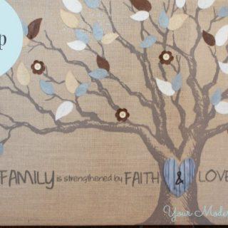 DIY burlap family sign