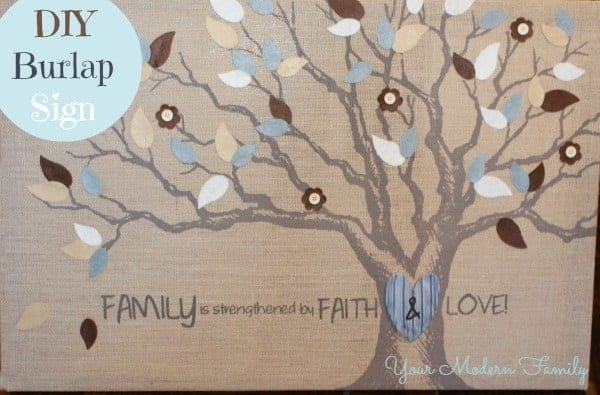 A close up of a piece of burlap with a family tree on it.