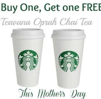 Two cups of Starbucks with text above it.