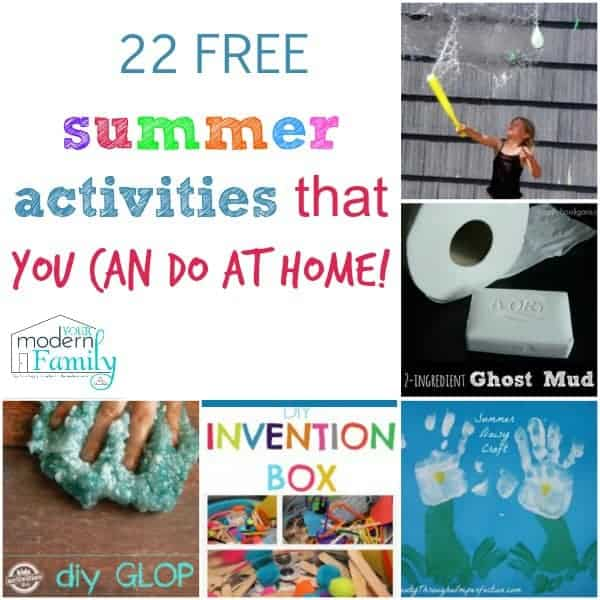A collage of summer time activities with text beside it.
