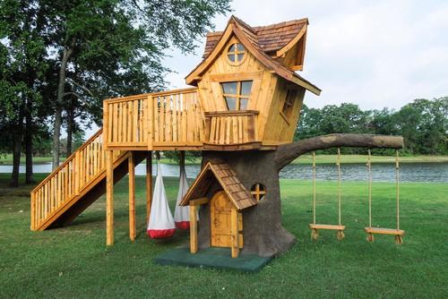 A wooden playhouse.