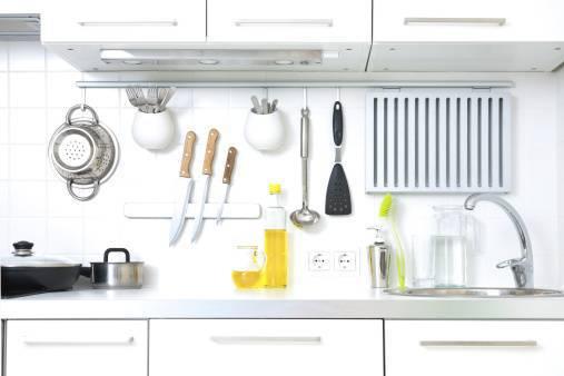 An organized kitchen counter.
