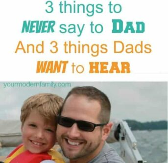 A boy and his dad smiling for the camera with text above them.