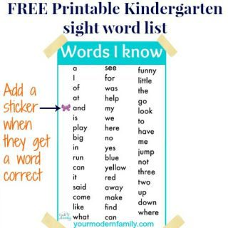 Printable Kindergarten sight words (& how to use it)