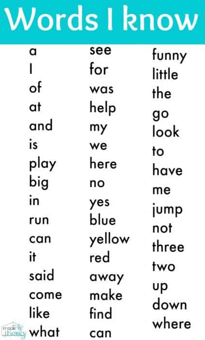 kindergarten sight words printable